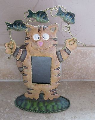 "Cat Design Metal Photo Frame - 8 1/2"" Tall"