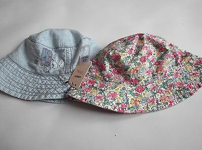 BNWT Girls NEXT Hats 3 - 9 mths Summer Holiday Sunhat  New, 2 Hat pack
