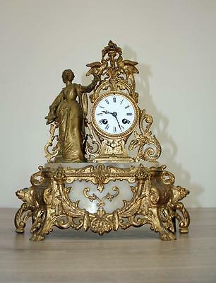 ANTIQUE 1860 FRENCH  CLOCK Japy Freres movement Gilt  Spelter Alabaster Hughe