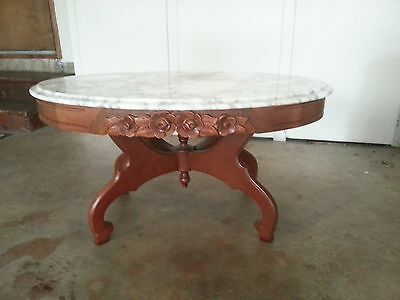 Vintage Oval Mahogany Marble Mid-Century Coffee Table White Gray Marbled Top