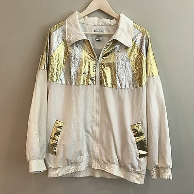 80s 90s Vintage Retro SLADE windbreaker coat XL Gold Silver Cream Tracksuit