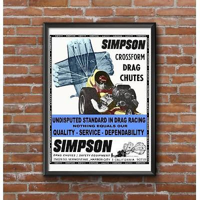 1967 Classic Cross Form Drag Chutes Promotional Poster - Top Fuel Dragster