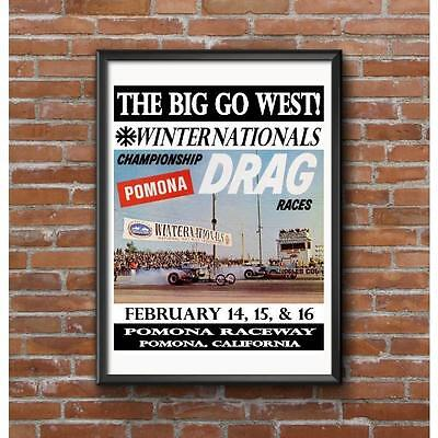 1964 NHRA Winternationals Drag Race Poster The Big Go West Pomona California