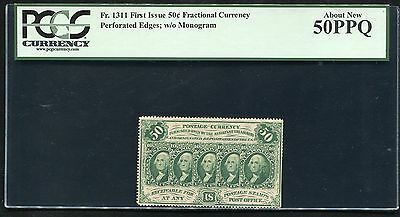 """Fr. 1311 50 Cents 1St Issue Fractional Currency """"Perforated"""" Pcgs Au-50Ppq"""