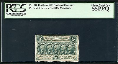 """Fr. 1310 50 Cents 1St Issue Fractional Currency """"Perforated"""" Pcgs Au-55Ppq"""