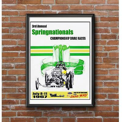 NHRA Springnationals 1967 Event Poster - Bristol Dragway Vintage Drag Racing
