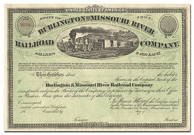 Burlington and Missouri River Railroad Company Stock Certificate