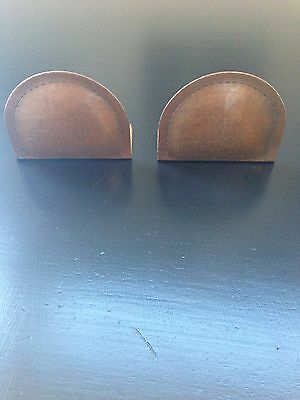 Antique ROYCROFT Arts Crafts Copper Hammered Bookends Mission Oak Stickley
