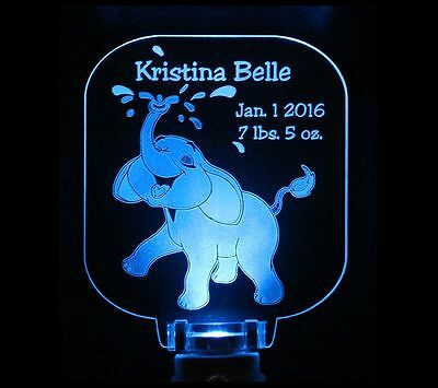 Elephant Night Light Personalized, Baby Shower Gift, Nursery decor