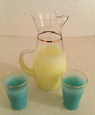 Vintage Frosted Blendo Glass Pitcher and 2 Glasses