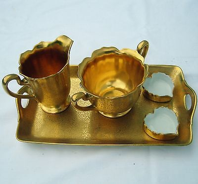 Antique Rs Prussia Germany Gold Creamer & Sugar 5 Piece Set- Mint Condition**