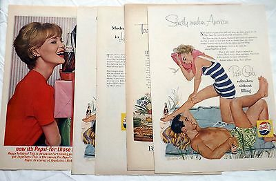 Lot of 4 Vintage Pepsi Ads Pepsi Cola Advertising  FREE SHIPPING