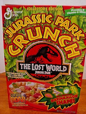 Vintage JURASSIC PARK CRUNCH Empty Cereal Box '97 GENERAL MILLS The Lost World