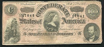 """T-65 1864 $100 One Hundred Csa Confederate States Of America """"Lucy Pickens"""" (H)"""