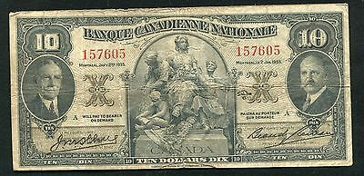 1935 $10 Banque Canadienne Nationale Montreal, Canada Chartered Banknote