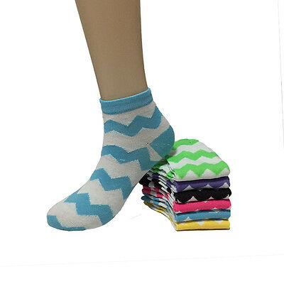 New Lot 12 Pairs Fashion Womens Multi Color Casual Low Cut Socks Girls Size 9-11