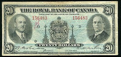 1935 $20 The Royal Bank Of Canada Montreal, Canada Chartered Banknote