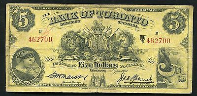 1937 $5 The Bank Of Toronto Dominion Of Canada Chartered Banknote