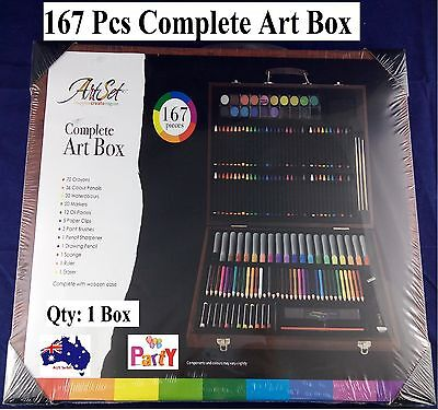 167 Piece Complete Paint Drawing Art Kit Set Stylish Wooden Storage Case New Kid