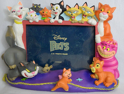 Disney Pets Cats Picture Frame 5x7 Photo 3D Aristocats Duchess Cheshire Lucifer