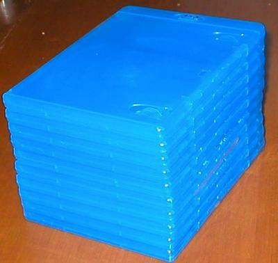 Set of 10 Empty, Blue, Blu-ray DVD Replacement Cases/Boxes w Wrap-Around Sleeve