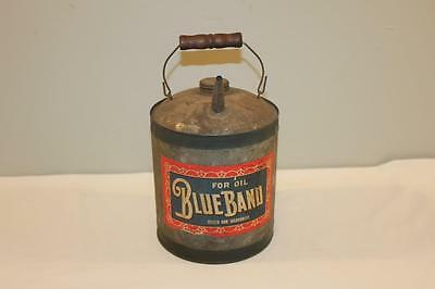 Vintage Blue Band Oil Galvanixed Tin 1 Gallon Can with Label Wooden Bail-BL