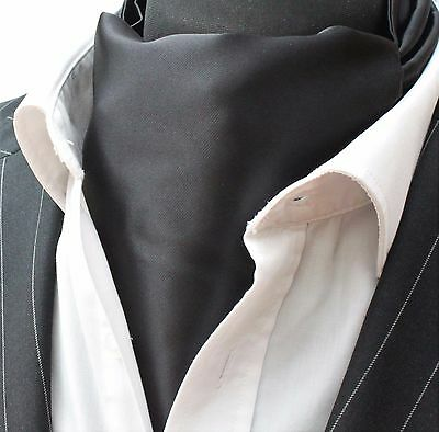 Cravat Ascot Solid  Black with matching hanky.
