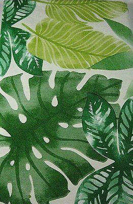 Flannel Back Vinyl Tablecloths Tropical  Leaves/ Green  Assorted Sizes