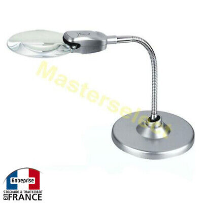 MAGNIFIER FLEXIBLE ON STAND FOR TABLE 90mm WITH LAMP 2 LEDS - CHEAP