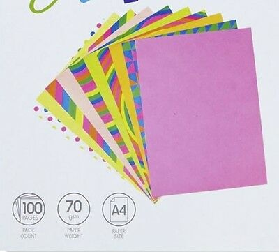 100 SHEETS = FLURO + PRINTED MIX A4 size paper pages bulk coloured colored NEON