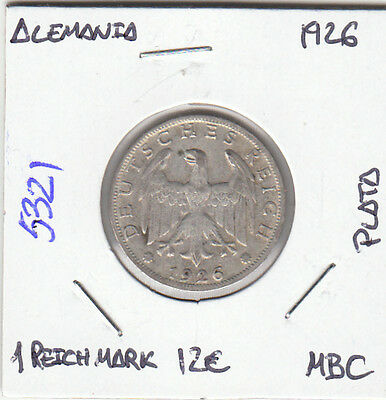 E5321 Moneda Alemania 1 Reich Mark 1926 Plata Mbc