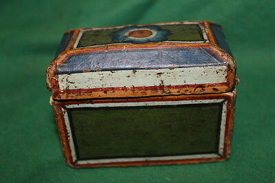 Antique Beautiful Box Made Of Painted Paper 18Th C.