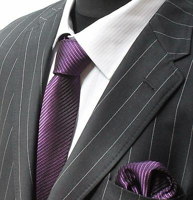 Tie Neck tie with Handkerchief Dark Purple