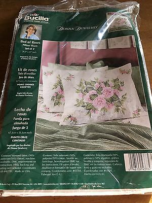 Bucilla Stamped Cross Stitch Kit Bed of Roses Pillow Shams Donna Dewberry 43782