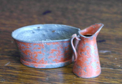 antique minature dolls house bowl and jug
