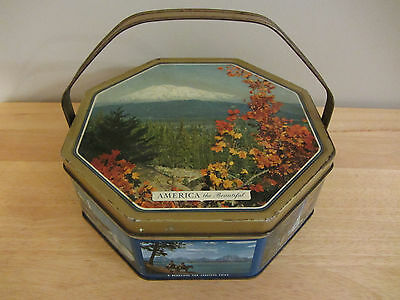"Vintage Sunshine Biscuit ""America the Beautiful"" Tin with Handle -Octogon shaped"