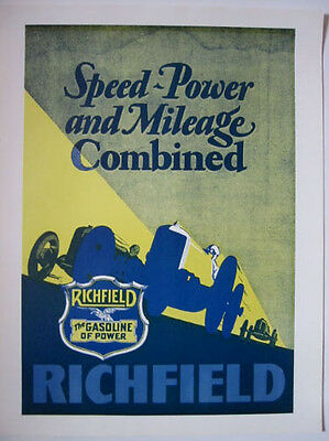 Richfield poster repro Auto The Gasoline of Power