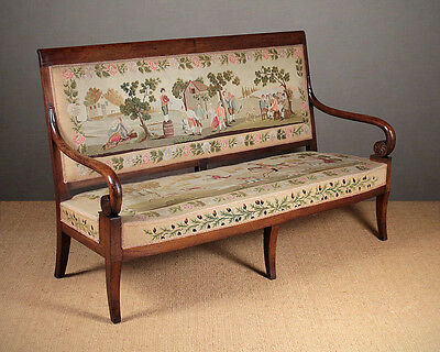 Antique Walnut Settee With Original Embroidery Covers Dated 1834.