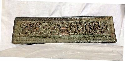 18th C Antique Floral Peacock Carved Wall Hanging Wooden Panel Vintage Estate