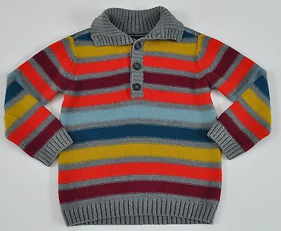 TEA COLLECTION Gray Shades of Red Blue Striped Knit Sweater Size 6