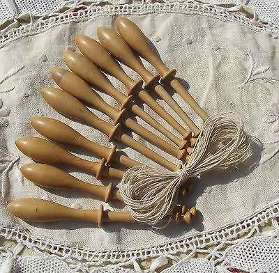 Vintage French Honey Wood Bobbins Lace Making Spool twist lacemakers Hemp thread
