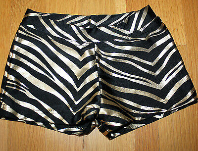 Capezio Girls Metallic Black Gold Shorts Dance Gymnastics Size Small Shiny Foil