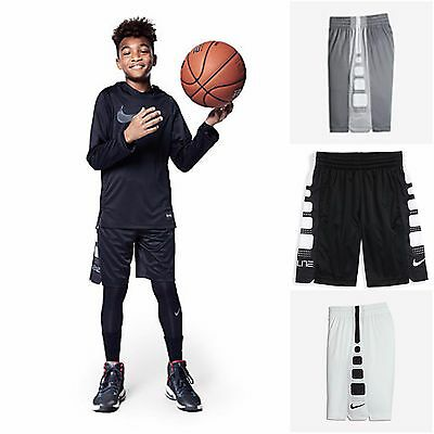 "NIKE Elite Stripe 8"" Dri Fit Basketball Shorts Boys M L XL Black Grey 816710 NEW"