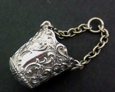 Antique Silver Thimble Holder Case Bucket For Chatelaine C1890