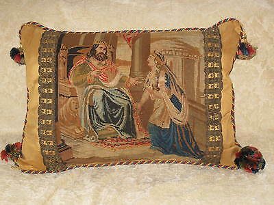 Exquisite Early 19Th C Needlepoint Tapestry Pillow Queen Esther & King Ahasuenus