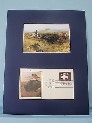 The Buffalo Hunt by Charles Russell & First Day Cover of  Buffalo stamp