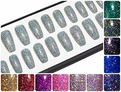 Coffin Holo Glitter False Fake Press On Acrylic Artificial Glue On Faux Nails
