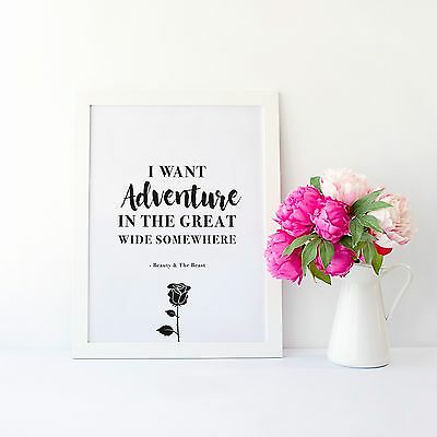 Disney Beauty and The Beast Wall Art Quote Print Typography Home Decor Poster