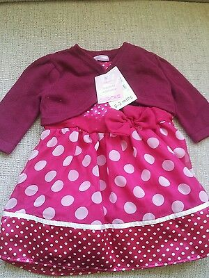 BNWT 0-3 months baby girls dress and cardigan outfit