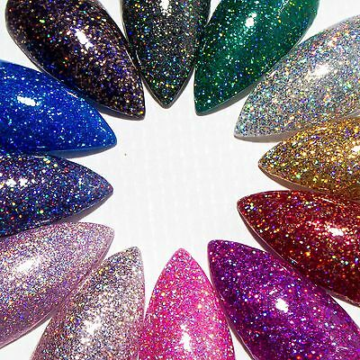 Stiletto Holo Glitter False Fake Press On Acrylic Artificial Glue On Faux Nails